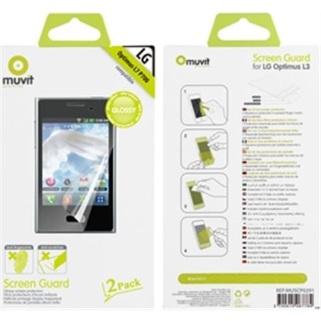 Muvit set dos protectores pantalla brillo antihuellas lg muscp0291 - 3700615067784