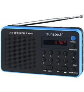 Sunstech radio portatil digital rpds32bl, azul Radio