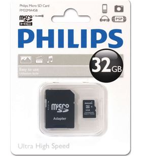 Philips memoria micro sdhc 32gb clase 10 + adaptador fm32mp45b