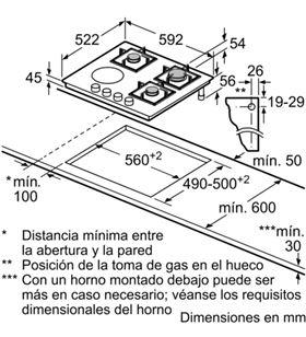 Placa mixta Balay 3ETG667HB 60cm 3zon gas 1zon vit - 3ETG667HB
