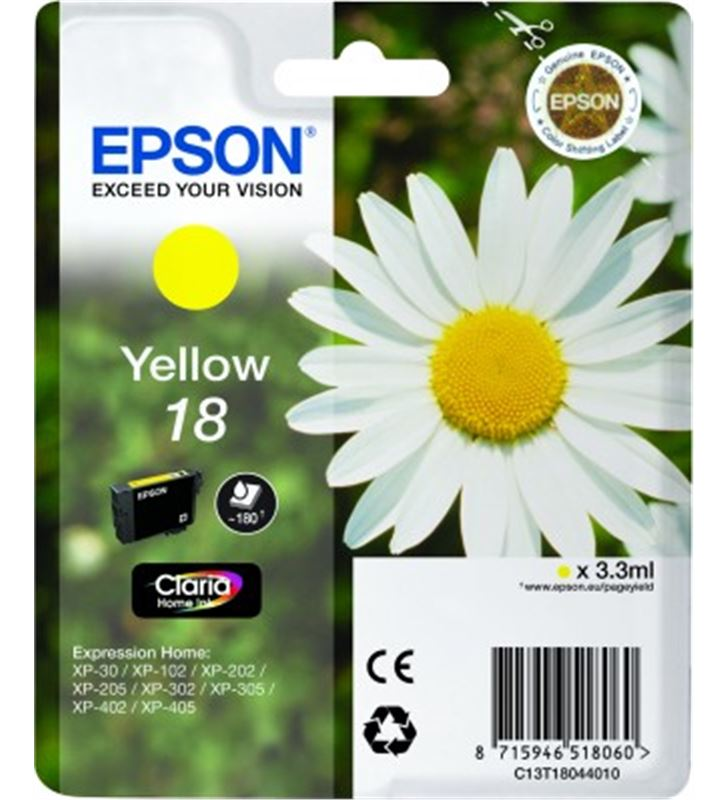 Cartucho tinta Epson C13T18044010 amarillo (marga Fax digital cartuchos - 14094261-EPSON-C13T18044010-19881