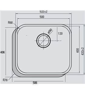 Cata 02625300 fregadero bajo encimera cb 50-40, cubeta cu - 02625300